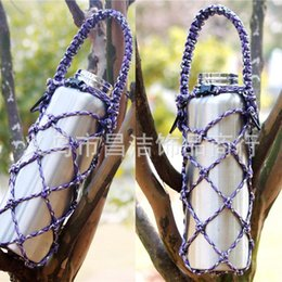 Wholesale Hand Bag China - Hand Knit Net Thermos Cup kettle Insulated Bag Portable Suspension Line Outdoor Sport Multi Function Hanging Bags 13 5cj R