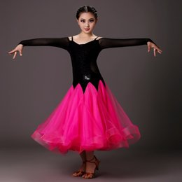 Wholesale Kids Ballroom Dance Costumes - pink girls modern dance costumes kids ballroom dance dresses standard ballroom dancing clothes Competition standard dance dress