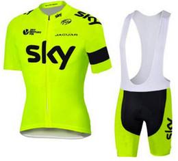 Wholesale Sky Cycling Jersey Bib Shorts - 2017 New SKY Team Pro Cycling Jersey + Bib Shorts Cycling Set Men's Bicycle Cycling Clothing Bike Wear Shirts Outdoor, Gel Pad ,XXS - 4XL.