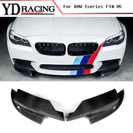carbon fiber lips Coupons - For BMW 5 Series 528i F10 M5 Bumper Only 2011-2017 Carbon Fiber Auto Front Splitter lip Flap Cupwings Side Aprons
