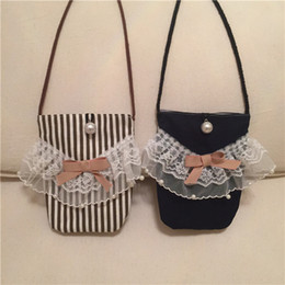 Wholesale Cute Phone Accessories - Everweekend Girls Fashion Handbag Stripes Lace and Bow Phone Purse Cross-Body Bags Candy Color Cross Bags Sweet Children Cute Accessories