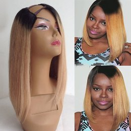 Wholesale Ombre U Part Wigs - Two Tone T1b 27 Ombre U Part Bob Human Hair Wigs Middle Left Right Part Brazilian Straight Virgin Hair 8-24 inch