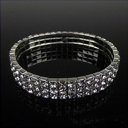 Wholesale Silver Dresses Bangles - Silver Plated Rhinestone Bracelets Evening Party Prom Dresses Wedding Accessories Bridal Jewelry 3 Rows Crystal Stretch Bangle Classic Hot