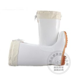 Wholesale Pull Boots - Pull On Rainboots Mens Boots Simple New Waterproof Low Heeled Anti Slip Wading Solid Color Half Knee High Galoshes White