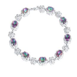 Wholesale Topaz Sterling 925 Silver Bracelet - Women Bracelet Vintage Oval Mystic Topaz Crystal Gemstone Diamond 925 Silver Platinum Plated Tennis Bracelet Excellent quality