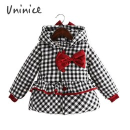 Wholesale Snowsuit For Baby Boys - Children's Winter Jackets For Girls 2016 Fashion Plaid Hooded Warm Coat Cotton Thicken Jackets For Baby Girls Snowsuit Clothes