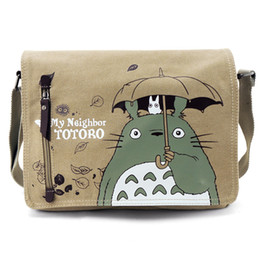 Wholesale Totoro Canvas - Wholesale-Fashion Totoro Bag Men Messenger Bags Canvas Shoulder Bag Lovely Cartoon Anime Neighbor Male Crossbody School Letter Bag