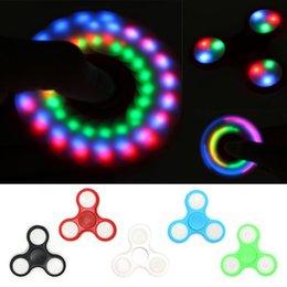 Wholesale Spinning Flashing Toys - LED Flash Light With Push Switch Luminous Hand Spinners Fidget Spinner EDC Triangle Finger Spinning Decompression Fingers Anxiety Toys