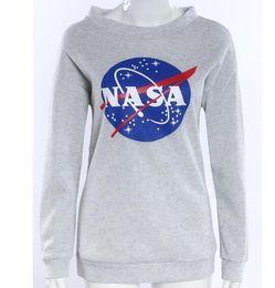 imprimir puentes envío gratis Rebajas 2016 Otoño Invierno Mujeres NASA Impreso Jersey Sudadera Loose Jumper Sudaderas Con Capucha de Béisbol Tee Tops Blusa Envío Gratis