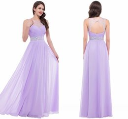Wholesale Sheer Back Evening Dresses - Floor Length Summer Sheer Formal Evening Gowns Illusion Neckline Sexy Beaded Pink Bridesmaid Dresses Hollow Back Chiffon Party Gowns CL6112