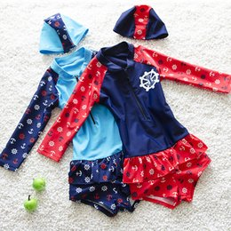 Wholesale Toddler Girl Wearing Swimsuit - New Children Swimwear Kawaii Baby Girl Long Sleeve One Piece Swimsuit Kids Bathing Suit Toddler Beach Wear with Swimming Cap