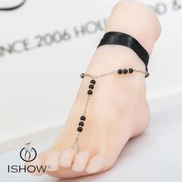 Wholesale Pearl Barefoot Sandals - Sliver simple anklets sandals Purple Black ribbon imtation glass pearl anklets barefoot sandal foot jewelry beach design for girls