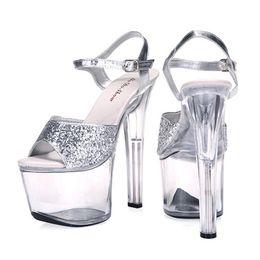 Wholesale 17 Cm Heel - Big Size 35-44 15 17 20 CM Thin High Heels Women Crystal Pumps Sexy Transparent Sandals Platform Nightclub Shoes Glitter Silver 05S