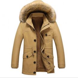 Wholesale Thick Warm Long Sleeve Shirts - Men's fashion 2017 velvet thickening cotton-padded jacket Medium length large size cotton shirts leisure trench coat winter warm coat