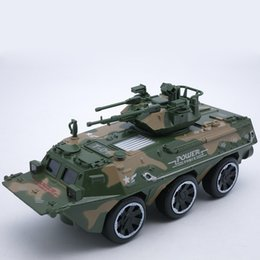 Wholesale Diecast Tanks - 17cm Length Diecast Armored Wheeled Combat Tank Vehicle Model For Boys As Toys Present With Box  Music Light Pull Back Function