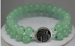 """Wholesale 8mm Green Jade Beads - free shipping > Details about 8MM 2Rows Green Jade Round Beads Silver Clasp Bracelet 7.5"""" AAA Grade"""