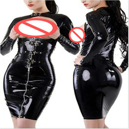 Wholesale Erotic Leather - Black Women Sexy Chest Exposed Dress Faux Leather Dress Zip Up Erotic Catwoman Costume Night Party Clubwear