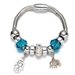 Wholesale geometric bracelets - Wholesale-Silver Plated Colorful Geometric Beads Animal Pendant Bracelet for Women Fashion Hot Sale Bracelets & Bangles Fine Jewelry