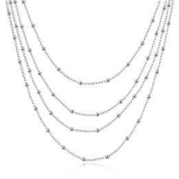 Wholesale Sterling Silver Necklace For Beads - new arrival Four layers of light beads sterling silver plated jewelry necklace for women WN751,nice 925 silver Pendant Necklaces with chain