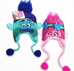 Wholesale Cartoon Hats For Sale - Hot Sale cartoon Trolls Poppy Branch winter hats trolls Cup costume boys girls Bomber Hats for 6-12 years old WD016