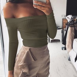 Wholesale Dot Clothes For Women Clothing - New style off shoulder crop top hot sale long sleeve solid short t-shirts for women clothing fashion slim t-shirt