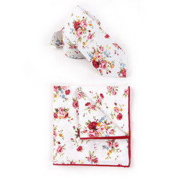 Wholesale Skinny Tie For Men - Free Shipping TIESET 100% Cotton Printed Necktie Gentleman Wedding literature Groom Groomsman Slim Skinny tie for man Necktie Hanky Set