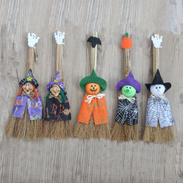 Wholesale Wholesale Witches Brooms - Halloween Decoration Pumpkin Wizard Ghost Female Witches Brooms Lovely Children Cartoon Dolls Party Props Hot Sale 6 5sl F R