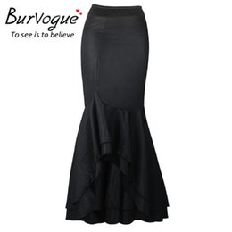 Wholesale Empire Waist Trumpet - Burvogue Women Fashion Victorian Long Mermaid Fishtail Black Stylist Vintage Skirt High Waist Steampunk Corset Dress