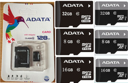 Wholesale Sd Card 16gb Real - ADATA 60PCS LOT 100% REAL 128GB 64GB 32GB 16GB Class10 MicroSDHC TF SD Card Android Powered SmartPhones Cameras Up 80MB s EVO+