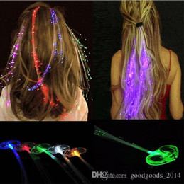 Wholesale Girls Light Up Barrettes - LED hair accessories LED girl hair light bulb Fiber Optic Lights Up Hair Barrette Braid jewelry sets With retail packaging a816