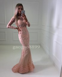 Wholesale Winter Jackets For Girls Image - Sexy African Pink Lace Prom Dresses 2017 Black Girl Mermaid Illusion Bodice Long Sleeves Evening Gowns Backless Dress for Party Formal Wear