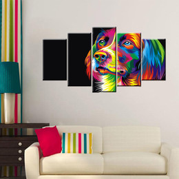 Wholesale Quality Portraits - High Quality Wall Decoration Spray Painting Abstract Dog Animal Portrait Paintings Wall Art Decor Unframed 5 Panels
