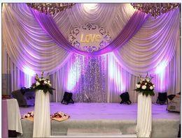 Argentina 20ft * 10ft Luxury Wedding telón de fondo cortinas con guirnaldas evento y fiesta telón de fondo de boda cortinas incluyendo lentejuelas medio Suministro