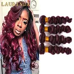 Wholesale Virgin Eurasian Hair Mixed - 99j Virgin Red Hair Bundles Loose Wave 4 Pcs Lot Dark Red Human Hair Weave Eurasian Virgin Hair extensions