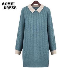 Wholesale Wear Sweater Dress - Wholesale-Women Winter Sweater Dress Long Knit Wear Fall Fashion Knitted Pullover Plus size L XXL 5XL Blue Green Gilet Femme Manche Longue