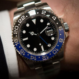 Wholesale Mens Automatic Gmt - Luxury mens watch Automatic GMT II Ceramic Bezel Black Blue 116710 Greenwich Series 116710Blro Original Stanless Mens watches