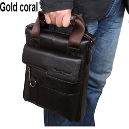 Wholesale Top Brand Men Business Bag - Wholesale- 2015 Gold Coral Brand New Style Genuine Leather Top Cow Skin HandBags fashion Messenger bags For men business shoulder bags