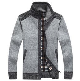 Wholesale Cardigans Sweaters For Men - New Arrives Winter Men's Cardigans Sweaters Mandarin Collar Casual Clothes For Men Zipper Sweater Warm Knitwear Sweater