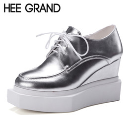 Wholesale Wedge Creepers - Wholesale-HEE GRAND Silver Oxfords Shoes Woman Women Ankle Boots Casual Platform Wedges Autumn Creepers Sexy High Heels Size 35-42 XWD4042