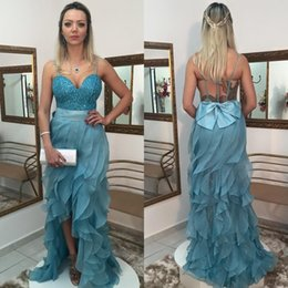 Wholesale Strap Sweetheart High Low Dress - Sexy Design Mint Blue Tulle Ruffles High Low Prom Dresses 2017 Sweetheart Spaghetti Straps Open Back Formal Evening Gowns