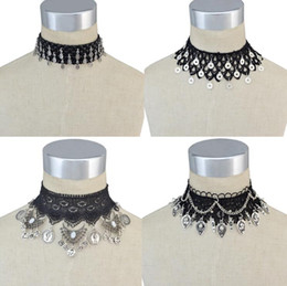 Wholesale Metal Flower Necklace Wholesale - idealway Bohemian Gothic Style Black Lace Leather Wide Flower Chain Carved Metal Charms Choker Necklace Jewelry