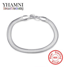 Wholesale Trendy Charm Bracelets - YHAMNI 100% original Jewelry S925 Stamp Solid Silver Bracelet New Trendy 925 Silver Snake Chain Bracelet for Women and Men H164