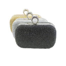 Wholesale Cheap Purses Rhinestones - Wholesale-2016 Cheap Womens Evening Bag Gold Silver Black Ring Knuckle Clutch Bag Evening Purse With Rhinestone Crystal Evening Bags