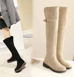 Wholesale Suede Boots Knee High Sale - Wholesale New Arrival Hot Sale Specials Super Fashion Influx Martin Elegant Tide Buckle Suede Elegant Large Size Casual Knee Boots EU34-43