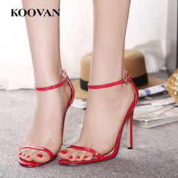 Wholesale Stiletto Heel Size 43 - Koovan Fashion Women Pumps New Summer Classics 11 Cm High Heel Shoes Open Toes Sexy Wedding Shoes Big Size 35-43 Four Color W028