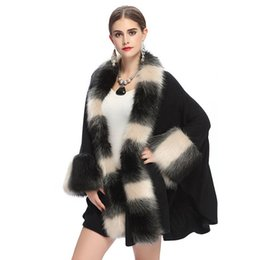 Wholesale Black Shawl Collar Cardigan - Fashion Autumn and Winter Women 's Fur Coat Imitation Fox Fur Collar Knit Cardigan Shawl Cloak Coat