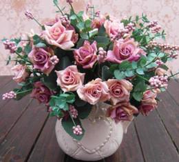 Wholesale Wedding Oil Paintings - New Arrive Elegant Oil Painting Style Artificial Rose Silk Flowers 10 Flower Head Floral Wedding Garden Decor DIY Decoration