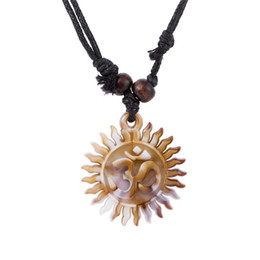 Wholesale Tooth Pendant White - comejewelry Egyptian Yoga Tooth Wheel Edge Look Like Sun With Round Macrame Plate OM Chakra Wiccan Rope Necklace Jewelry For Woman