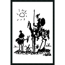 Wholesale Impressionist Drawings - Canvas wall art prints abstract oil painting Master Pablo Picasso simple line drawing famous figure don quixote for Louis Aragon