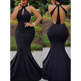 Wholesale Showing Back Prom Dress - Free Shipping Black Halter Mermaid Prom Dresses Sexy Sheer Corset Long Party Backless 2017 Real Simple Photo Show Prom Dress
